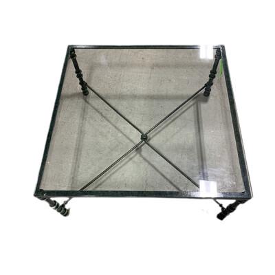 Green Metal Glass Top Coffee Table