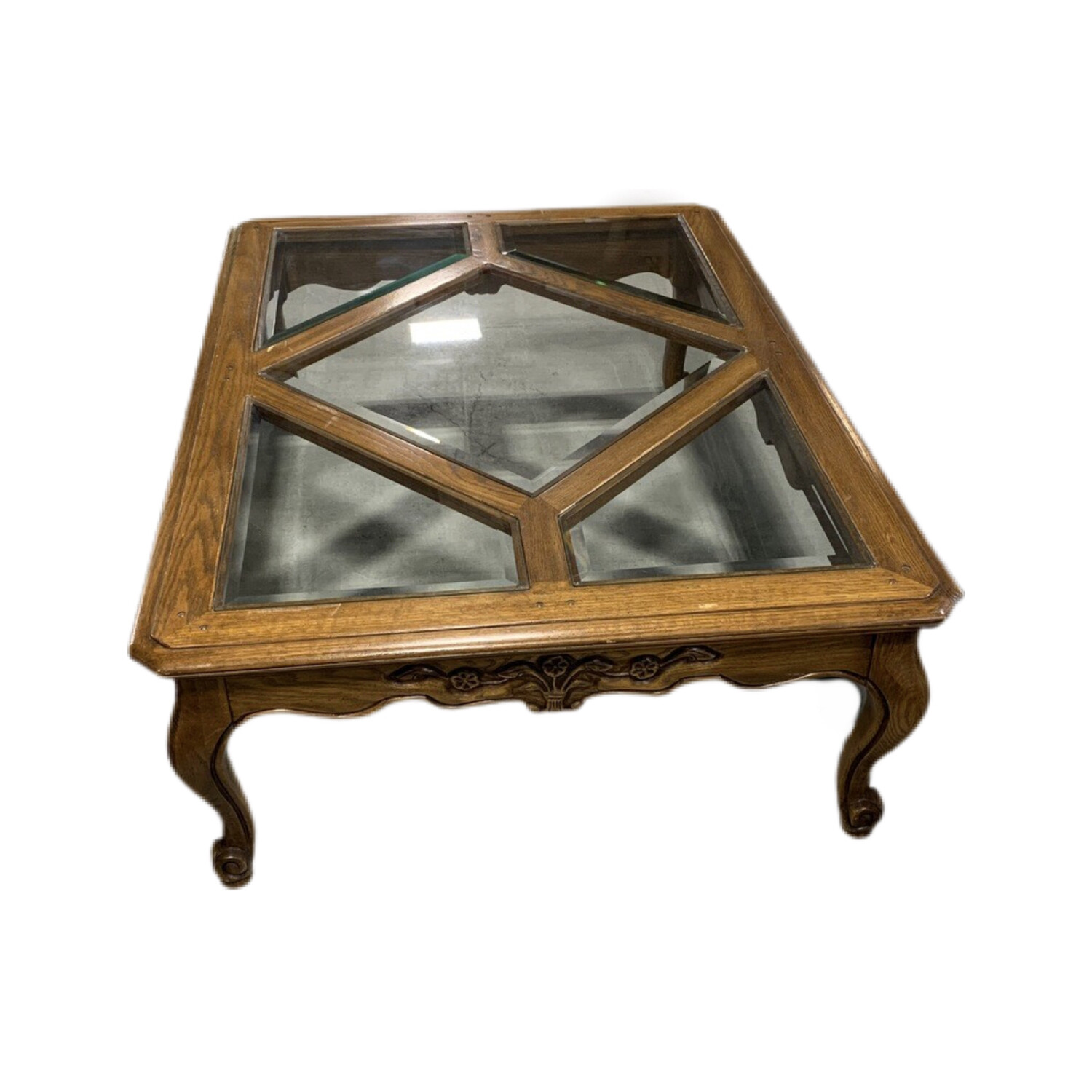 Wooden Table With 5 Pieces Of Glass