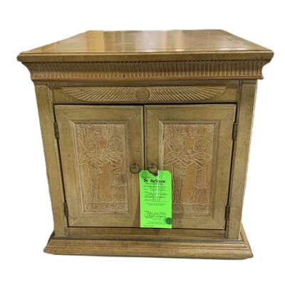 Tan End Table With Egypt Drawing