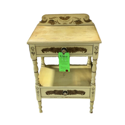 Side Table Yellow With Two Drawers