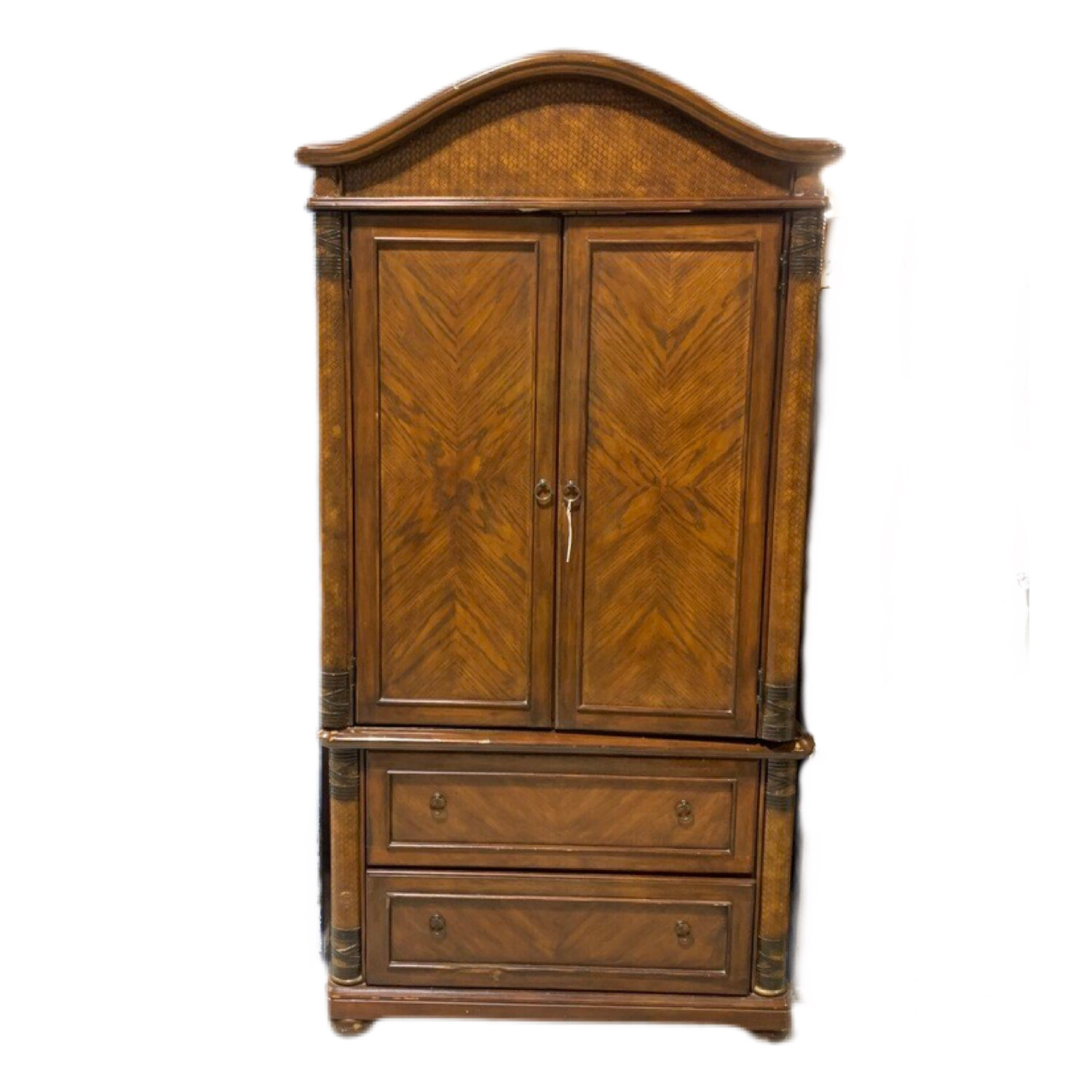 Bow Top Wood & Leather TV Armoire