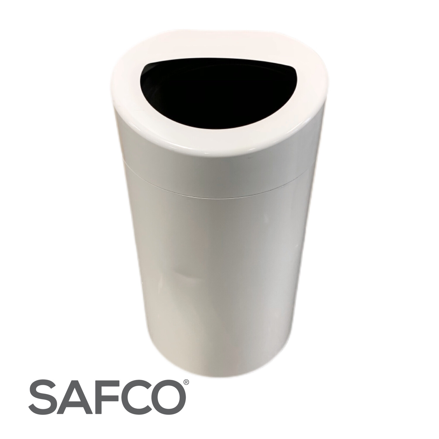 White Safco Trash Can