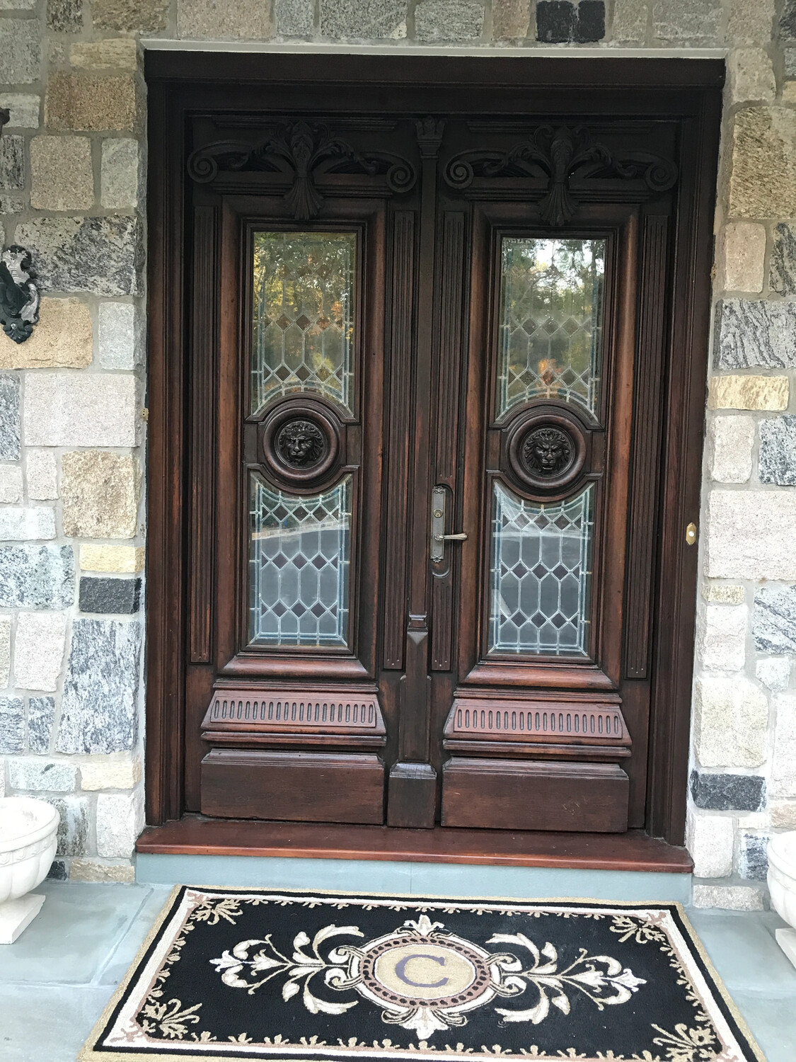 Solid Wood + Leaded Glass Double Doors With Arch