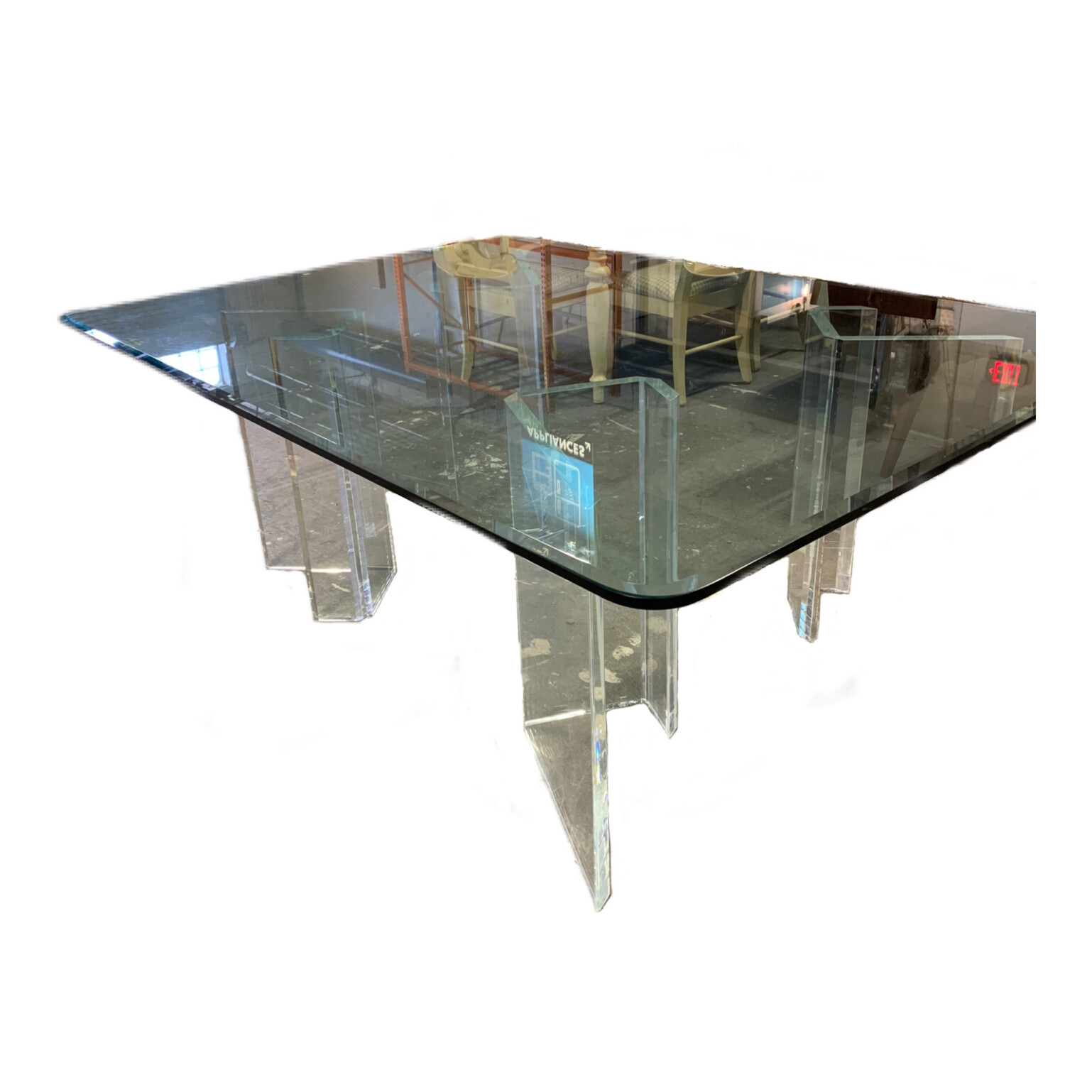 Glass Top Table With Acrylic Bases