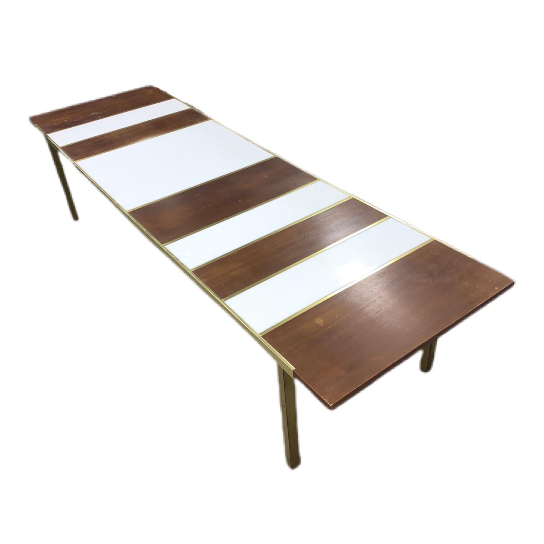 Mid Century Modern White Glass Brass Coffee Table