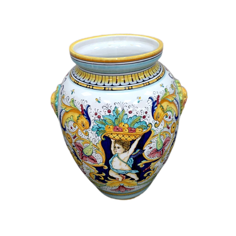 Gialletti Pimpinelli Deruta Hand Made Italian Decorative Pot