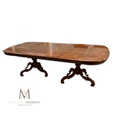 Alfanso Marina Quere-Tano Mahogany Hand Inlaid Wooden Dining Table