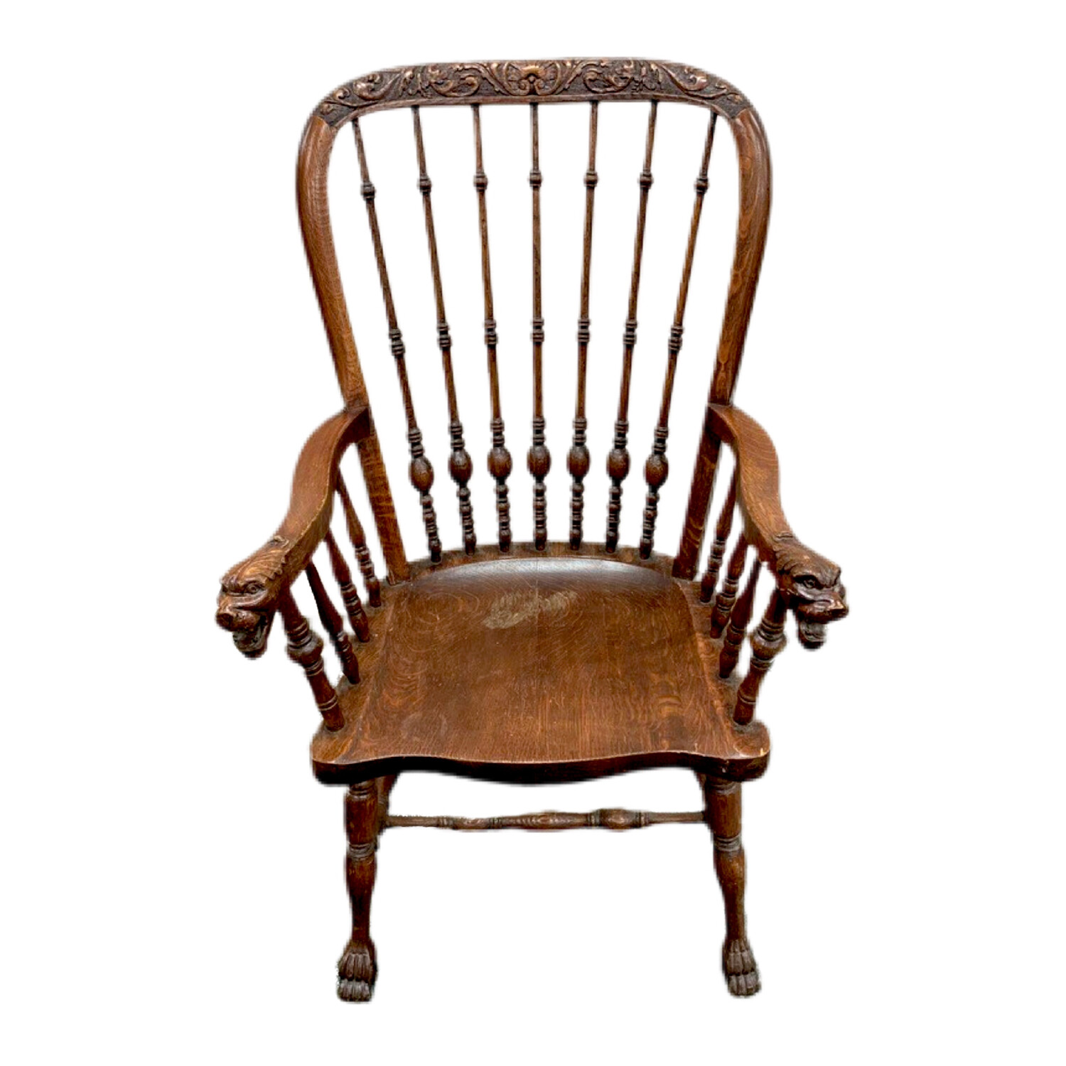 Antique Hand Carved Lion Head  Arm Chair