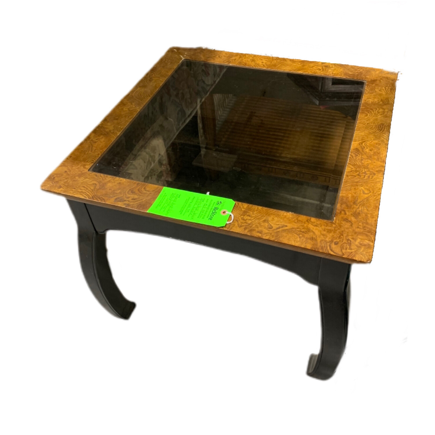 Glass Top Black Side Table