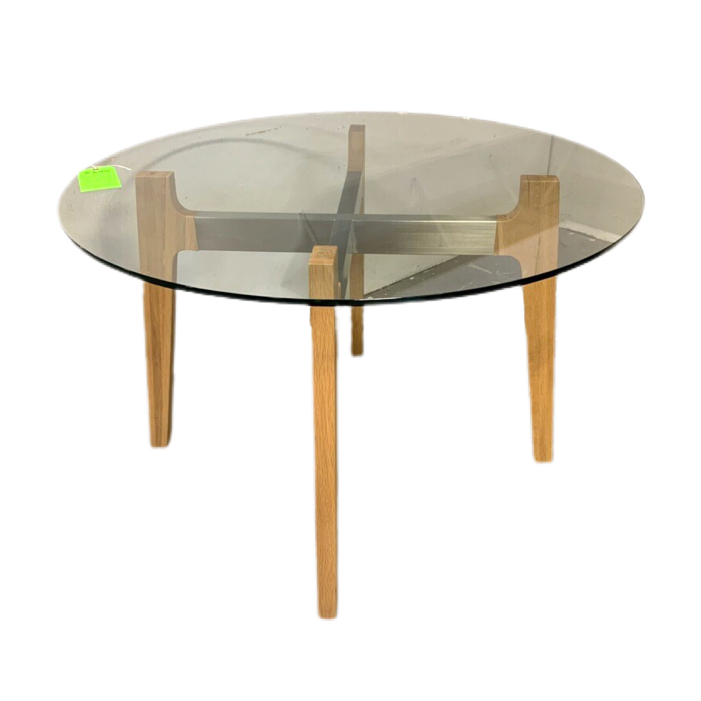Glass Top Table W Wood & Metal Legs