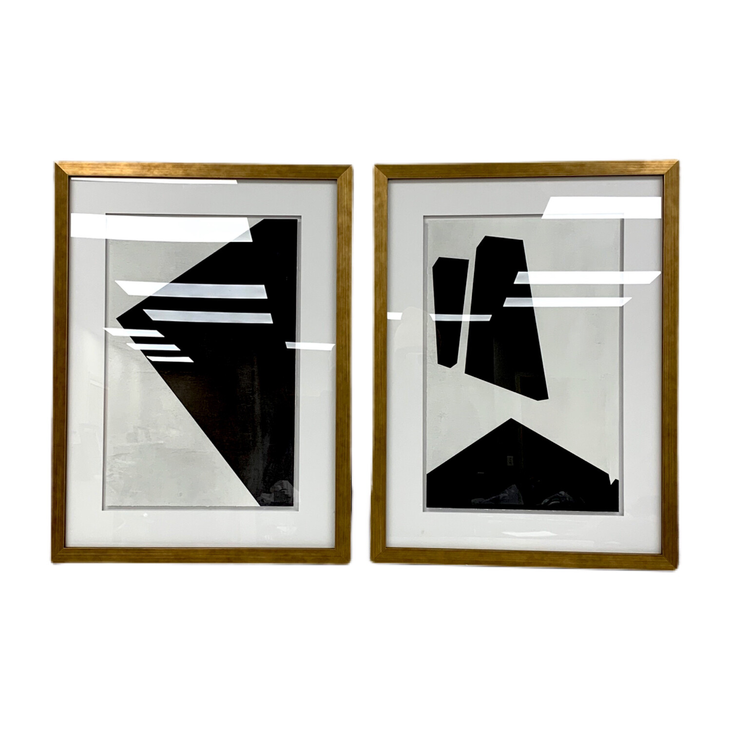 Set of 2 Framed  Mid Century Geometrics Prints