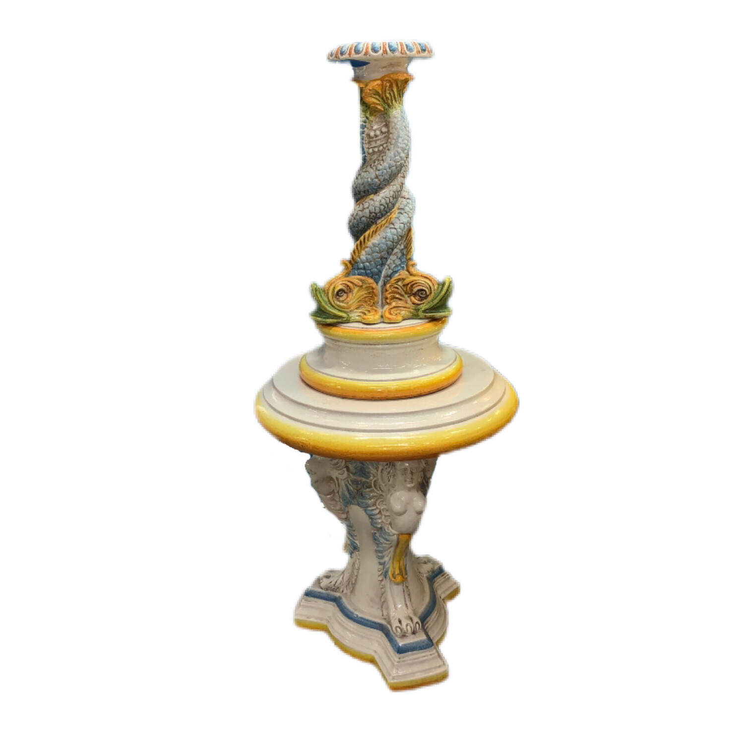 Hand Painted 4 Piece Fish Fountain Made in Italy