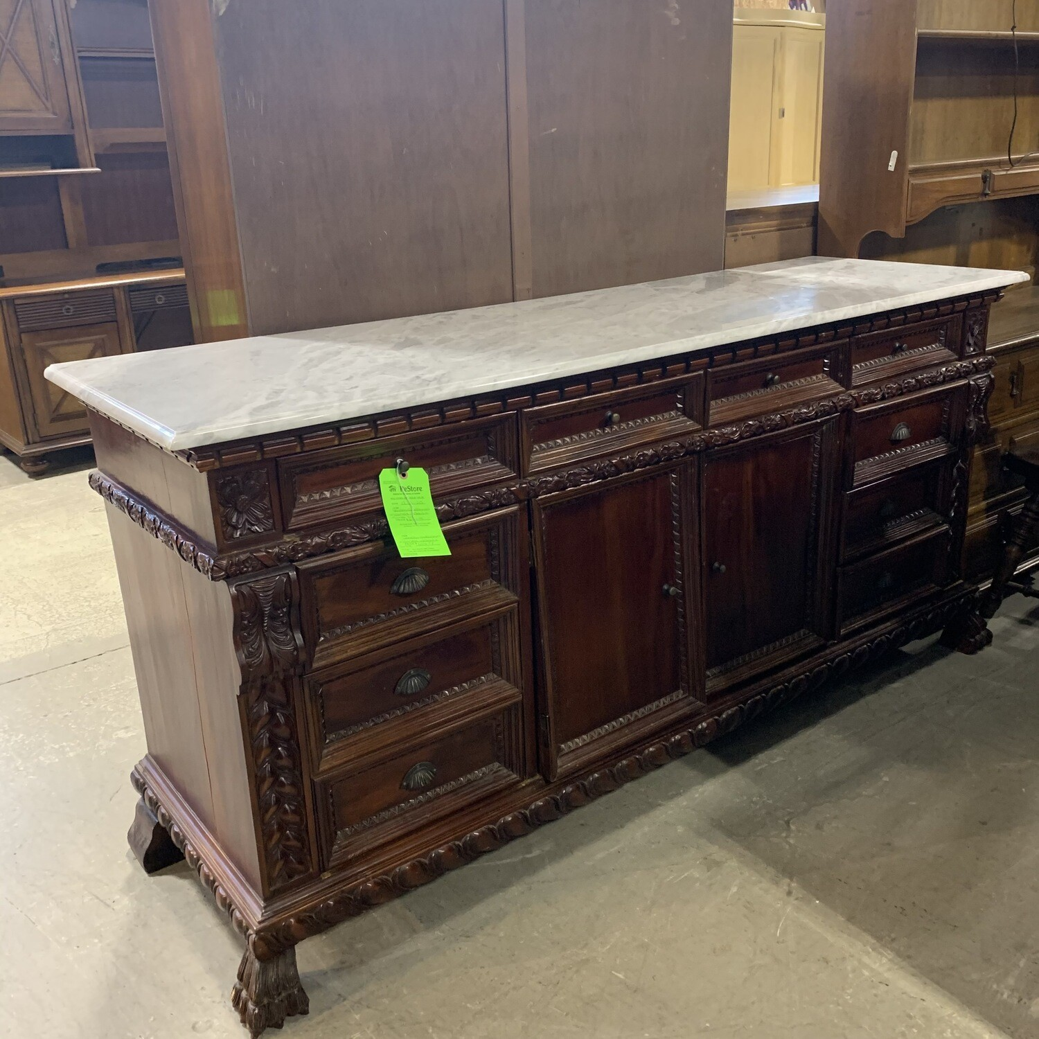 Wooden Sideboard With Carved Detail + Marble Top