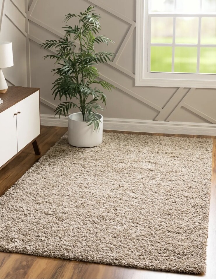 Maple Home Hand Woven Shag Rug Taupe