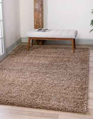 Maple Home Hand Woven Shag Rug Brown