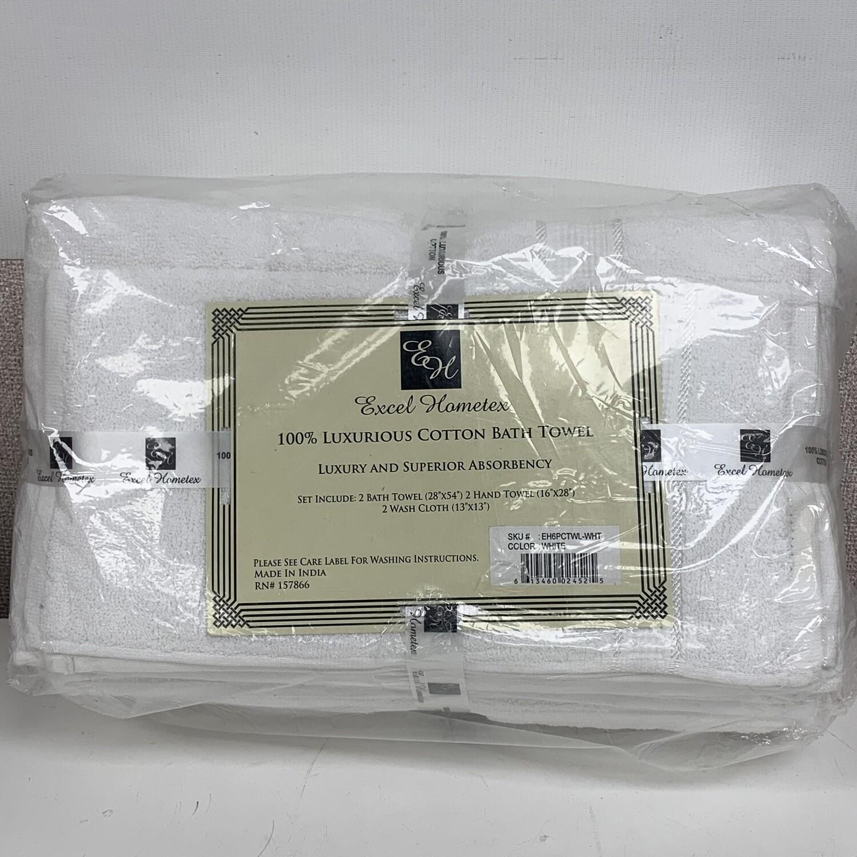 Excel Hometex White Luxurious Cotton Bath Towel Set