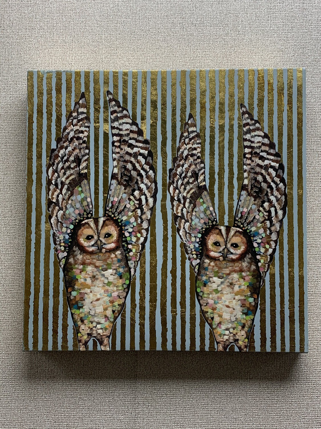 """Owl Love"" Stretched  Canvas Wall Art"
