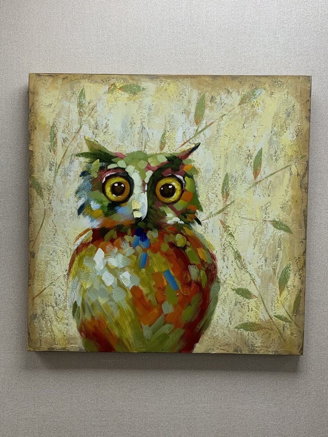 Hand Painted Colorful Owl Stretched Wall Art