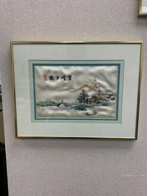 Vintage Framed Silk Embroidery Japanese Scene #2