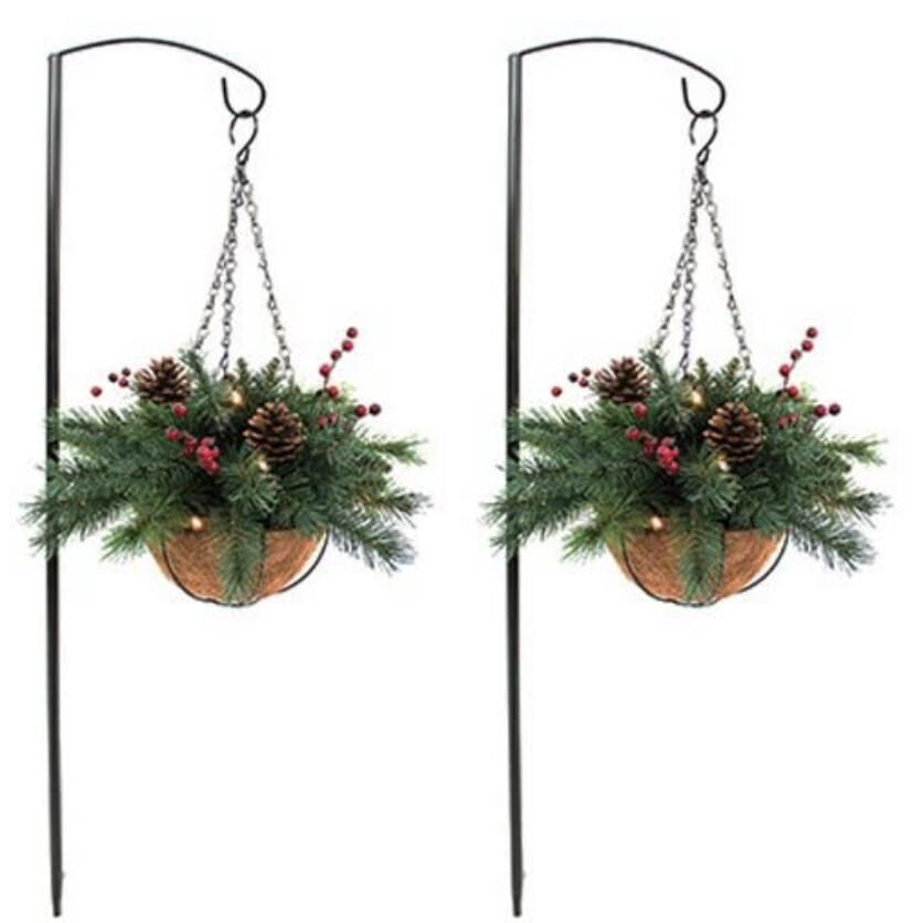 Holiday Wonderland 2 Pack Lit Hanging Baskets