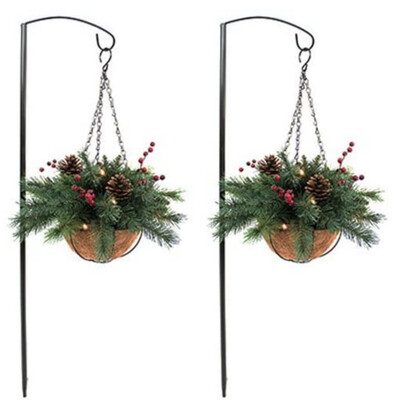 Holiday Wonderland 2 Pack Lit Hanging Baskets