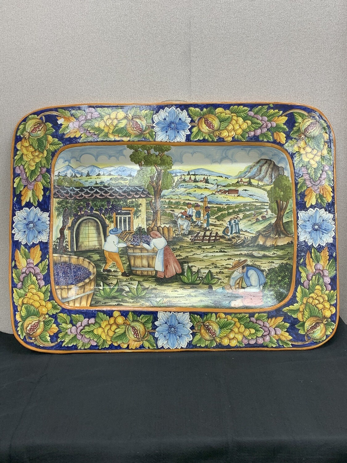 Large Hand Painted Italian Scene Wall Hanging
