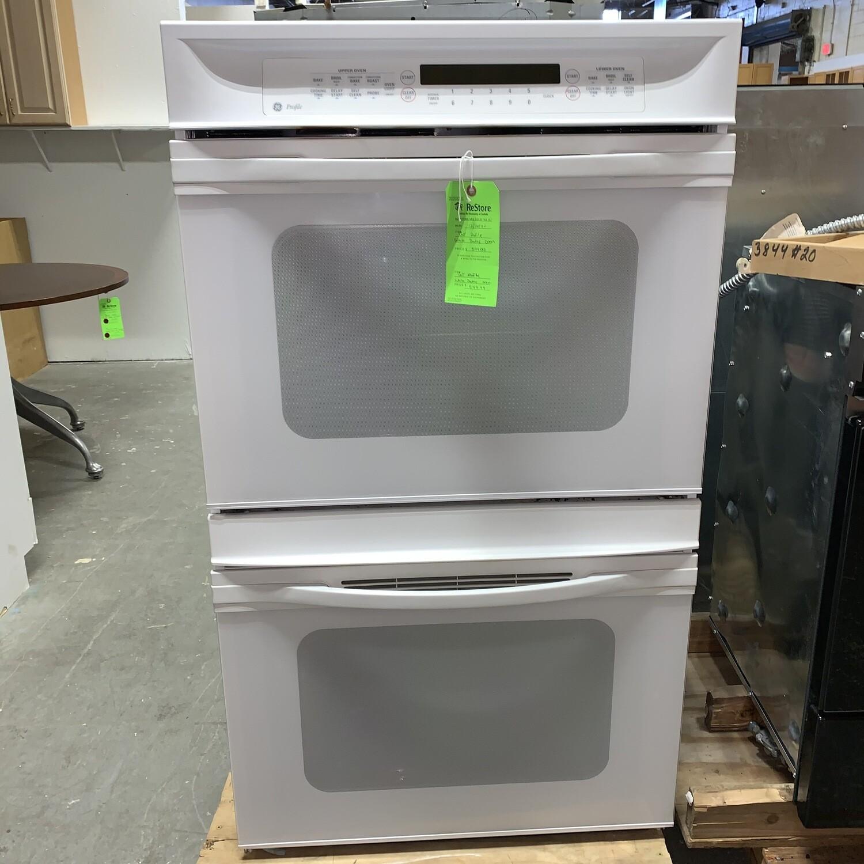 GE Profile White Double Oven