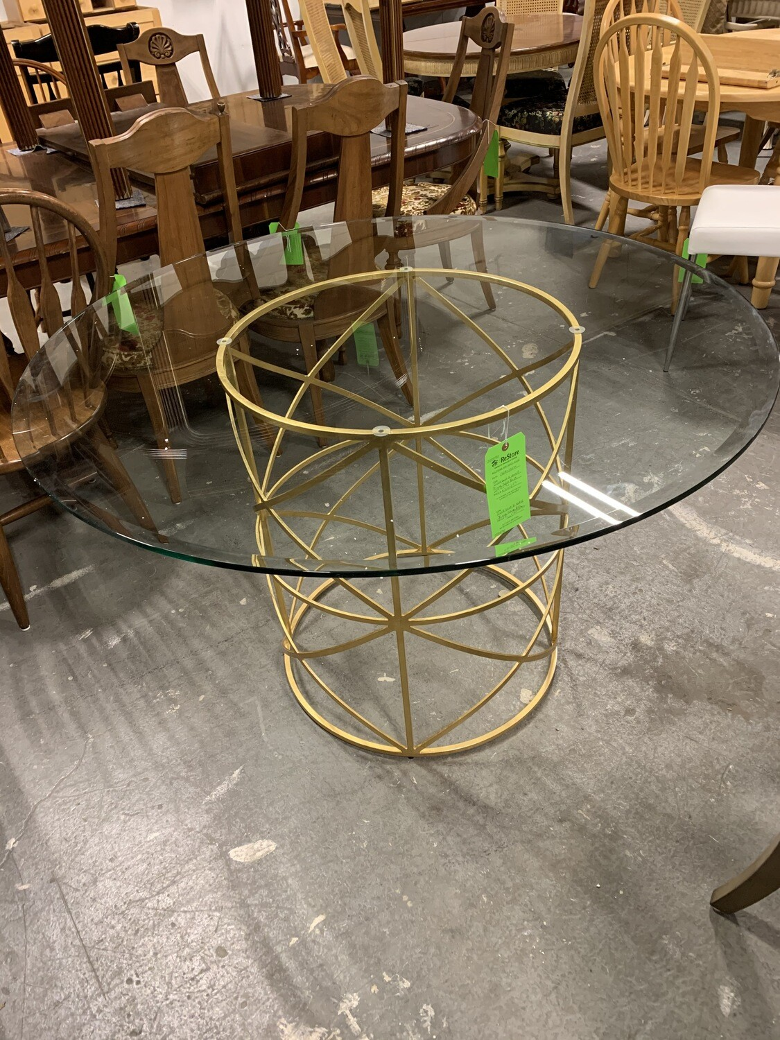Gold Leaf X Motif Dining Table Base With Glass Top