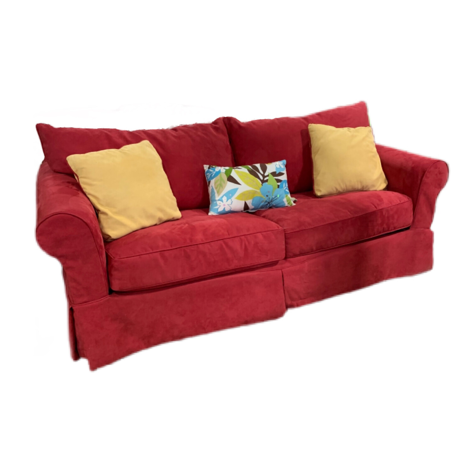 Red Sofa Bed With 3 Decorative Cushions