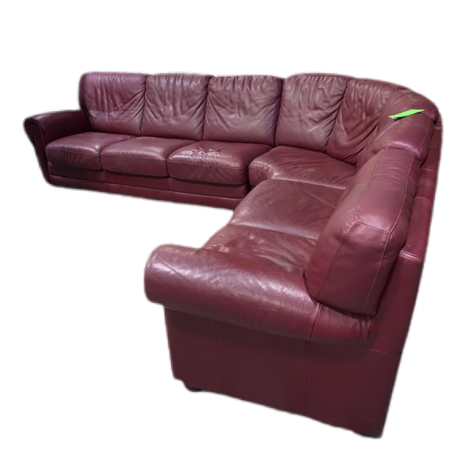 3 Pieces Wine Sectional Leather