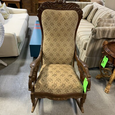 Carved Wood Floral Rocking Chair