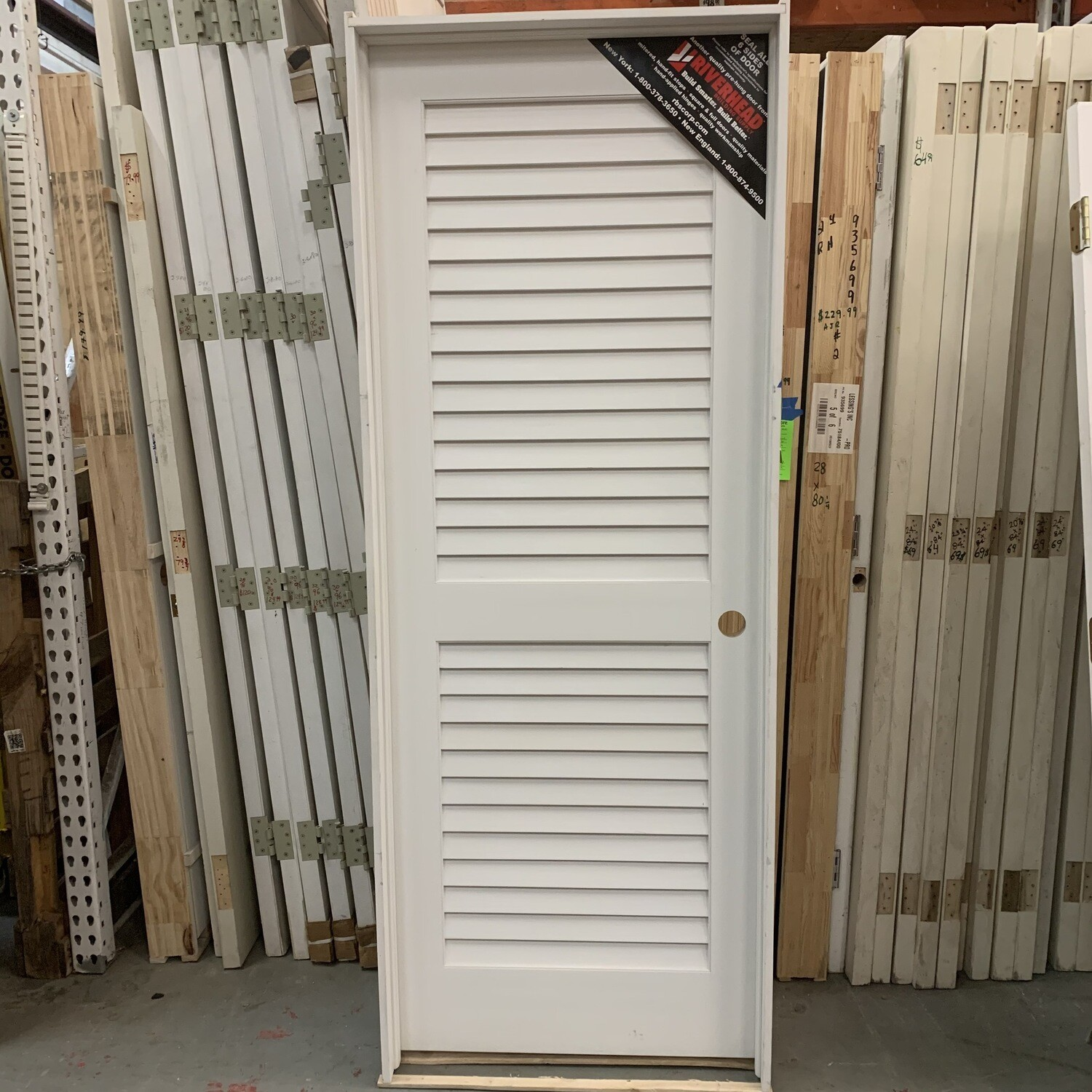 "White Louvered Door 36"" X 80"""