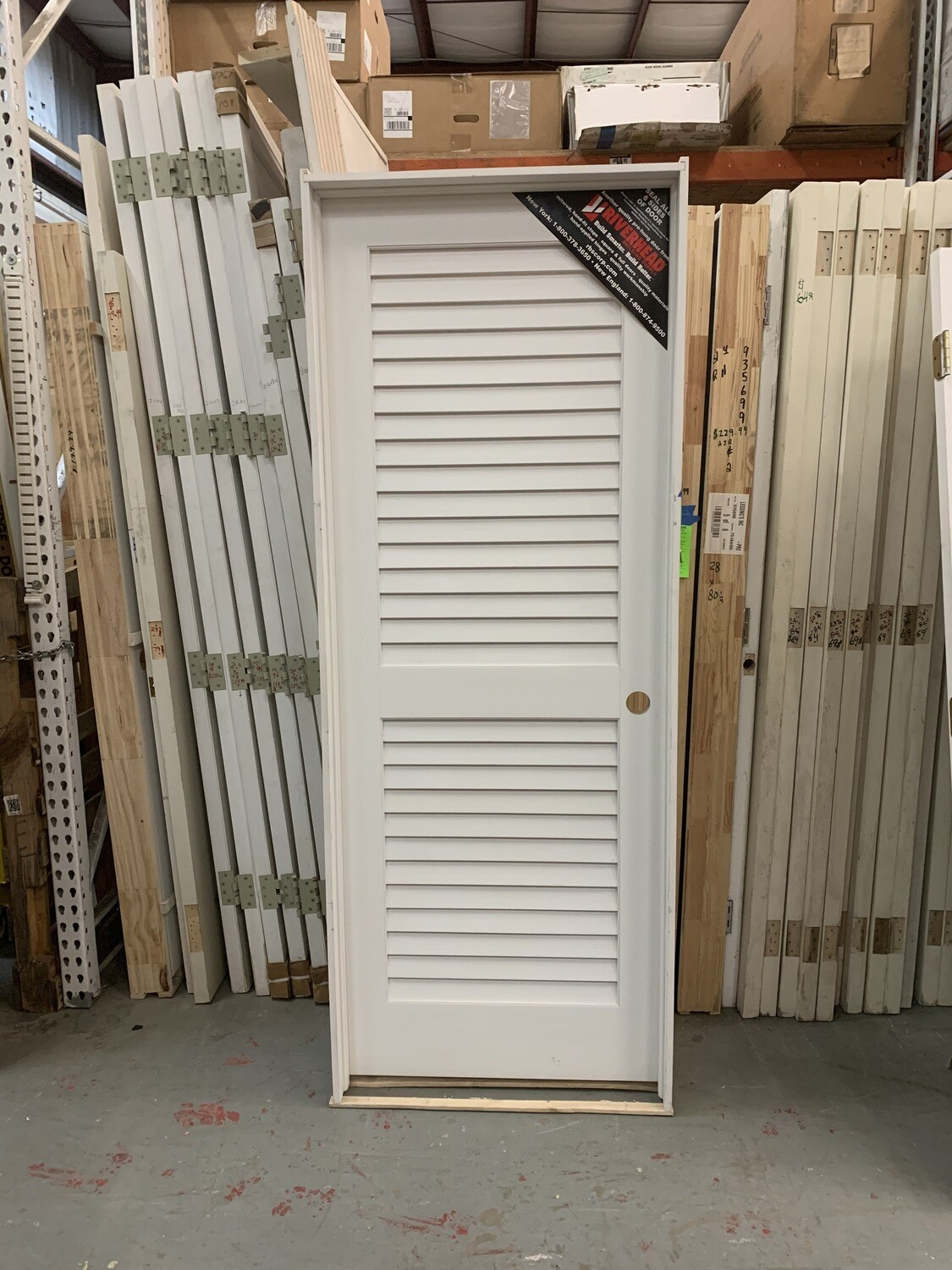 "White Louvered Door 31 3/4"" X 80"""