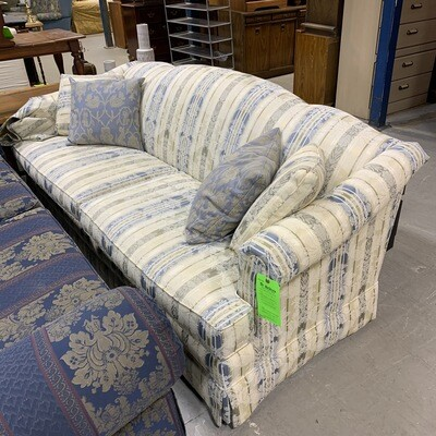 Cream & Blue Stripped Couch