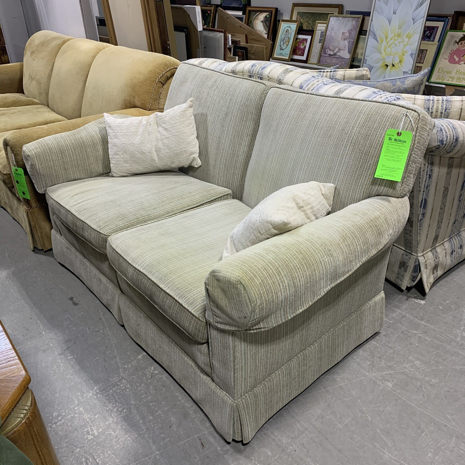 Light Green & Light Blue Loveseat
