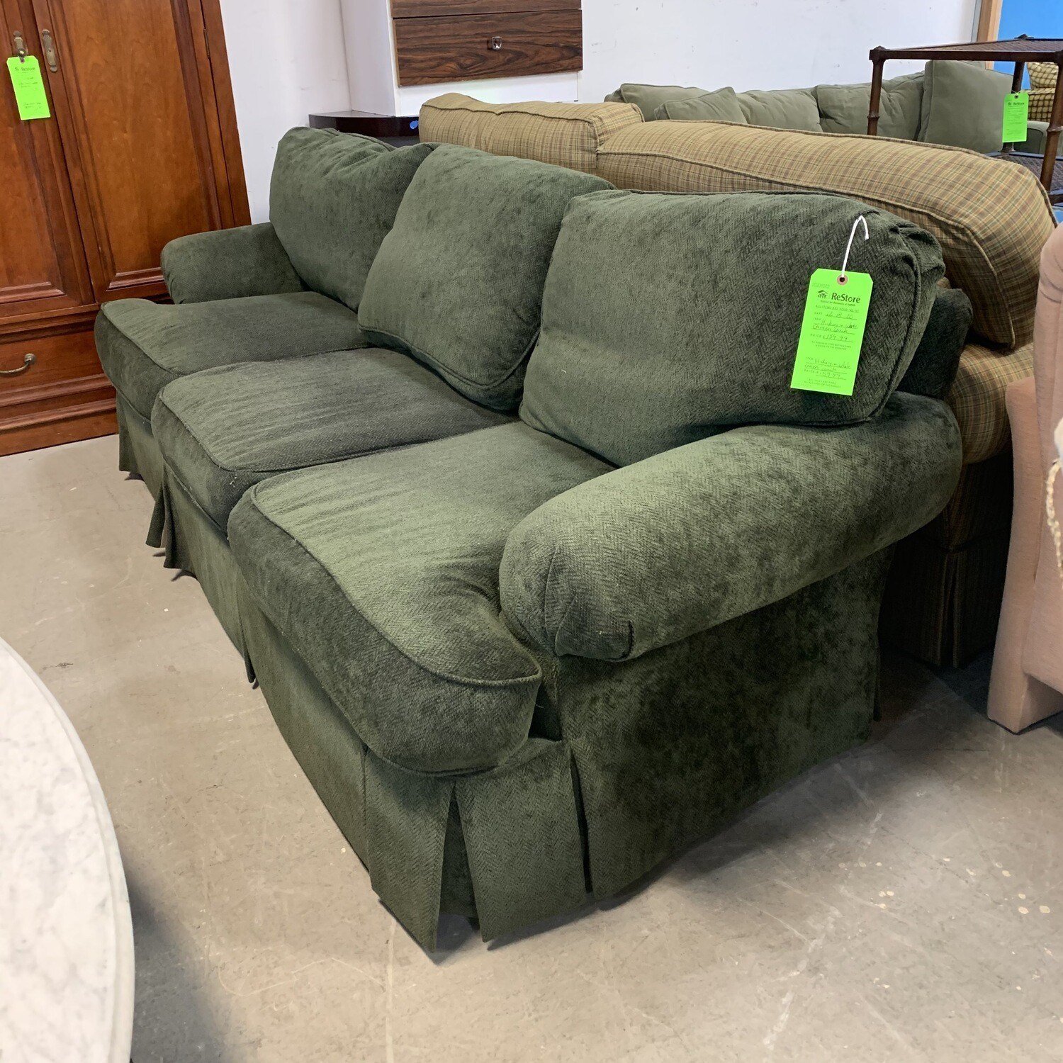 Hickory  White Green Couch