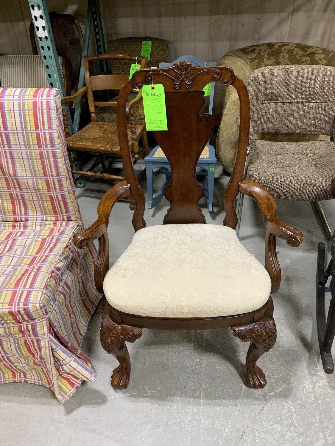 Carved Wood Chair With White Seat