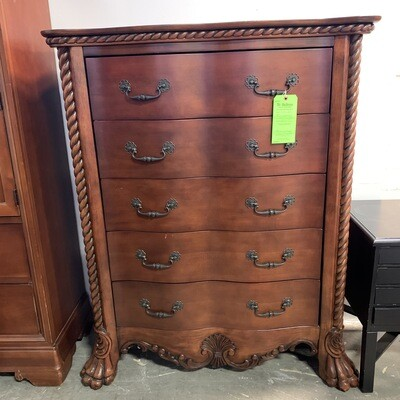 4 Drawer Clawfoot Darkwood Dresser