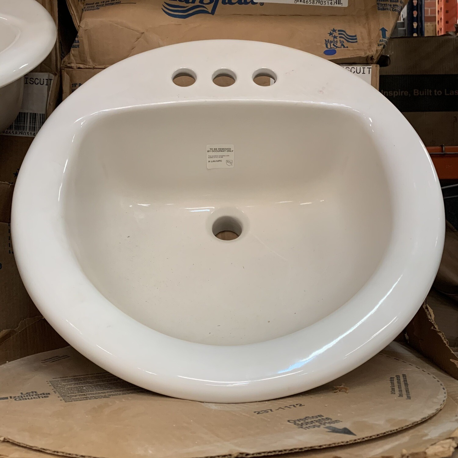 """Mansfield  Self Rimming Lavatory Sink 250 4""""Biscuit"""
