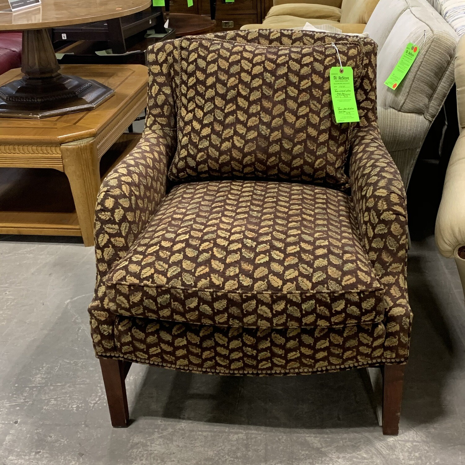 Brown With Oak Leaf Pattern Accent Chair