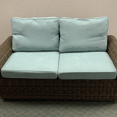 Pier 1 Brown Outdoor Patio Loveseat With 4 Sets OF Cushions