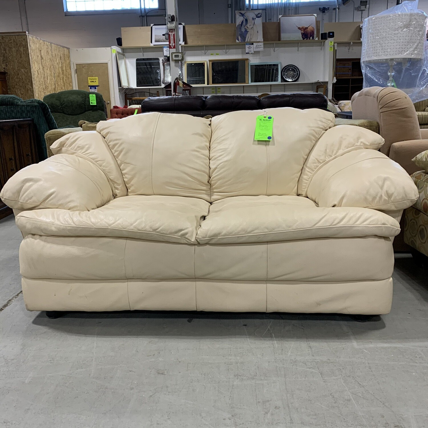 Cream Colored Faux Leather Couch