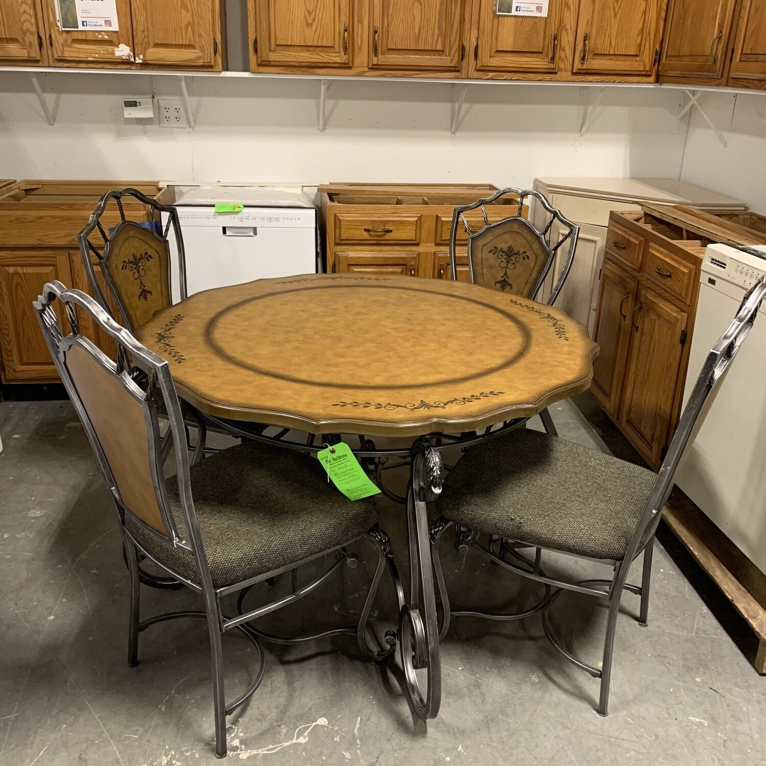 Metal & Wood Table With 4 Chairs