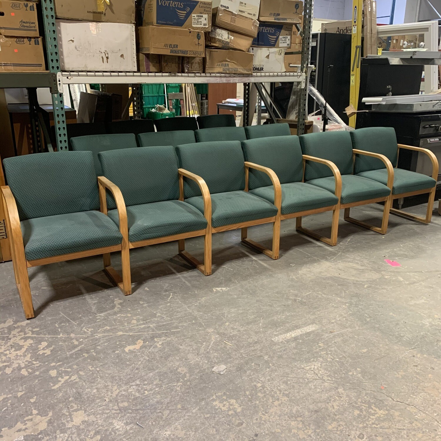 6 Connected Wood Frame Lobby  Area Chairs