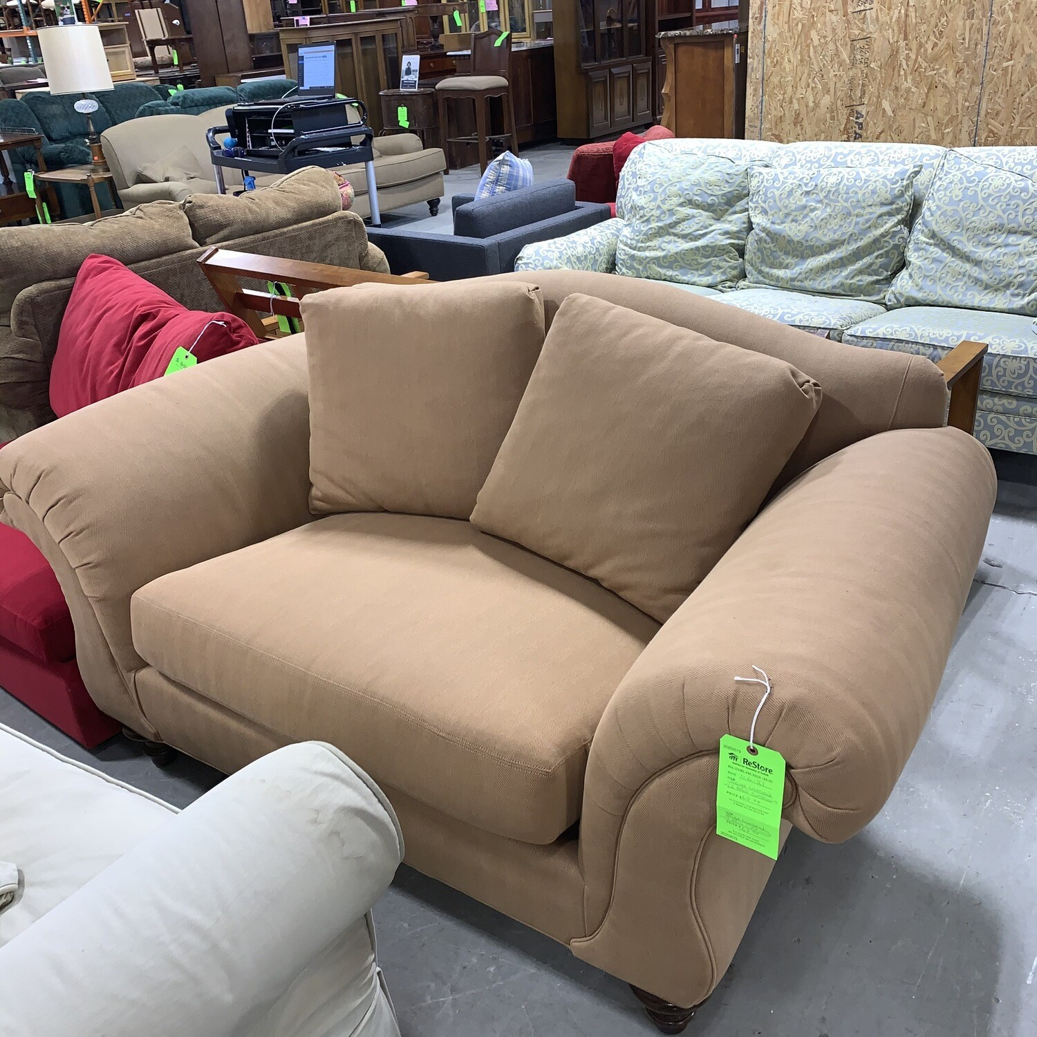 Beige Loveseat With 2 Back Cushions