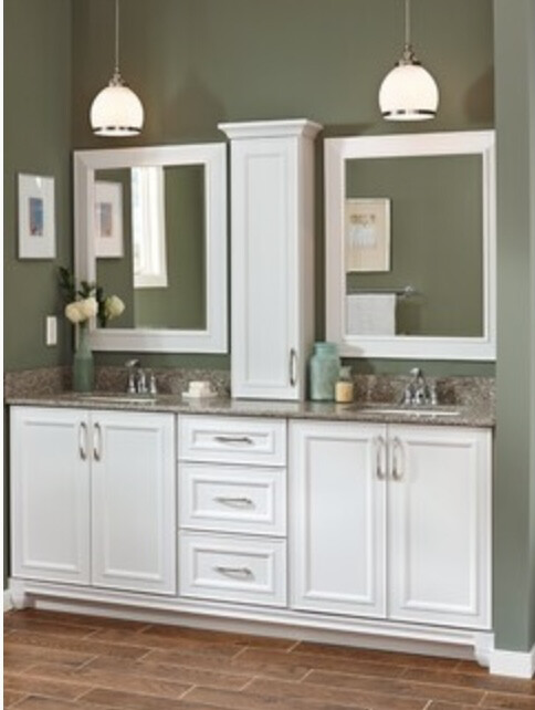 Catalina 3 Piece White Vanity With Crown Molding & Mirror