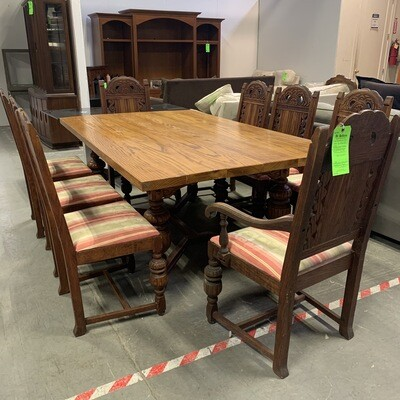 Solid Wood Table & 8 Upholstered Seat Chairs
