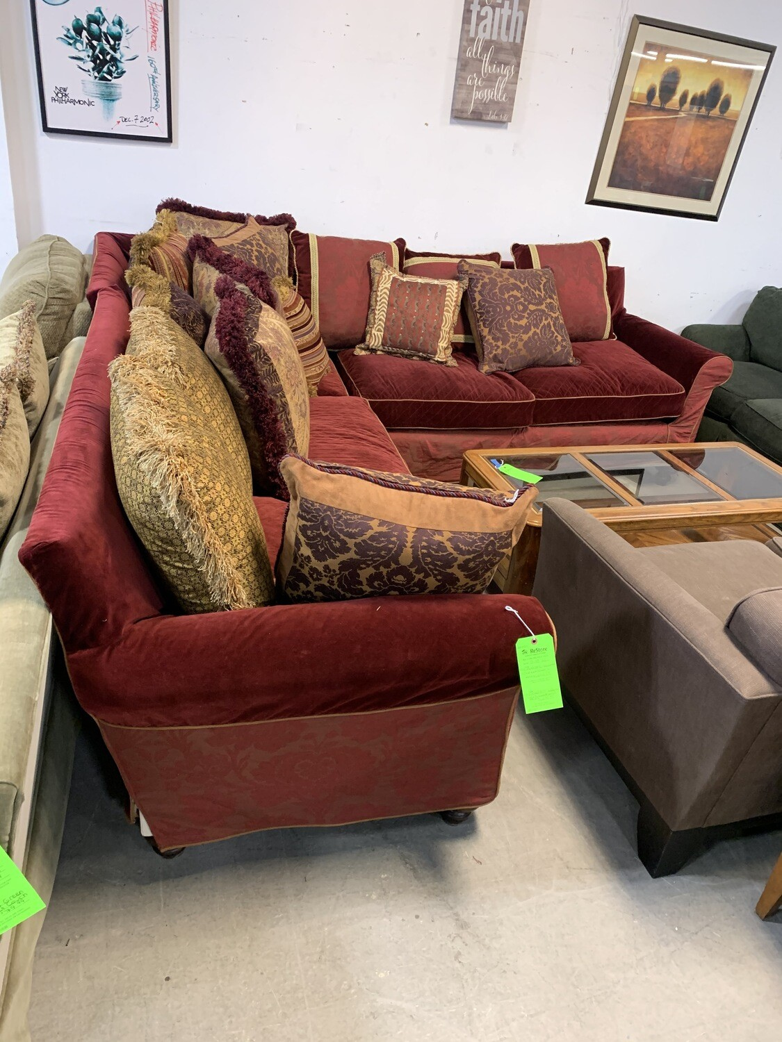 Red Velvet 3 Pc Sectional With 15 Cushions