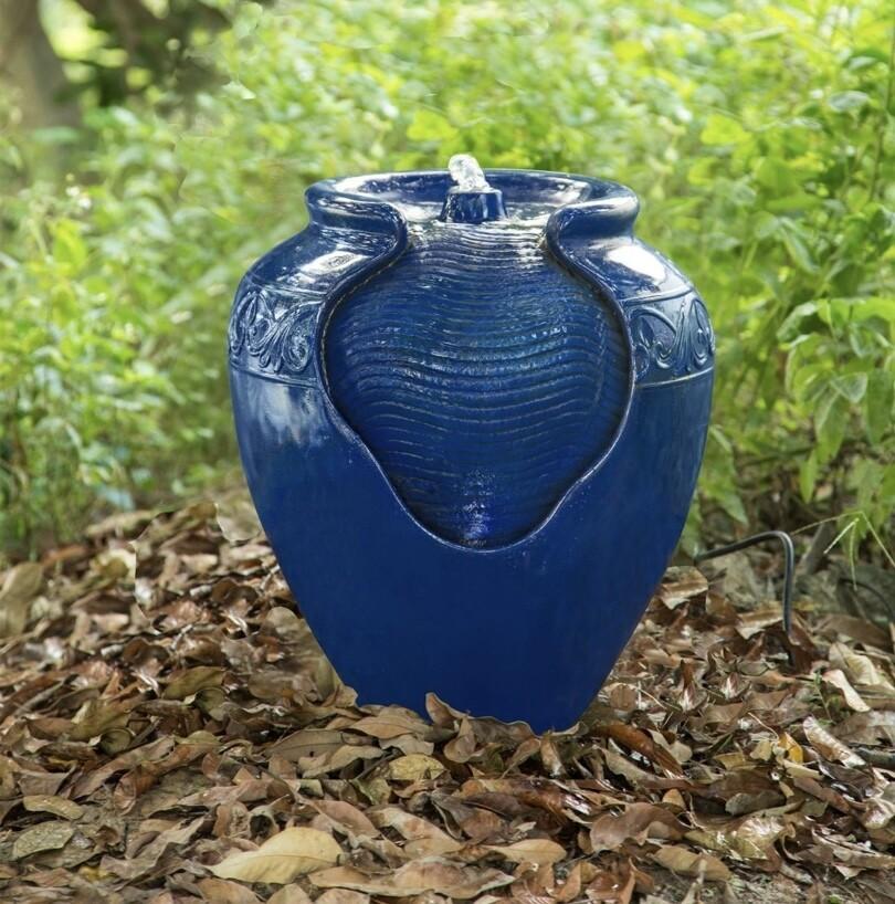 Outdoor Glazed Pot Floor Fountain - Royal Blue