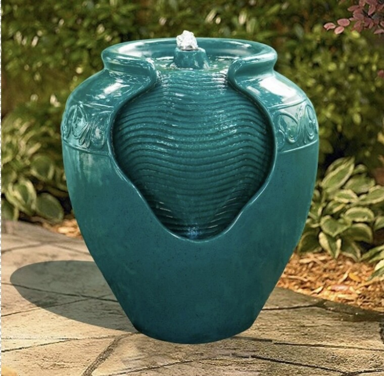 Outdoor Glazed Pot Floor Fountain with LED Light - Teal